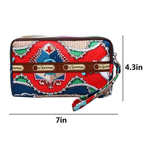 Ship Red With Clutch Wrist Long Bag Wallet Strap Layers Nylon Women��s Wristlet Purse 3 wqfOF6