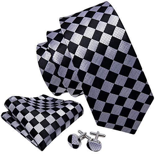 Barry.Wang Classic Ties for Men Geometric Plaid Necktie Set