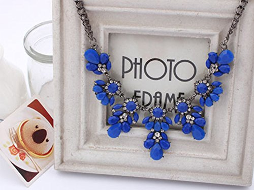 Ocaler® Fashion Women Vintage Crystal Flower Crystal Bib Choker Statement Necklace (Sapphire Blue)