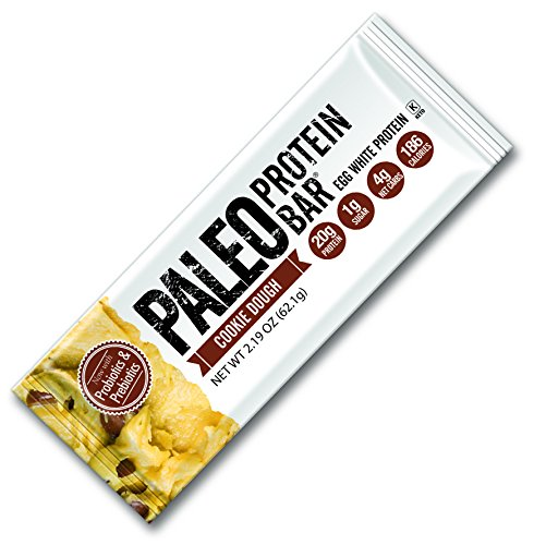 Bio Protein Bar Cookies (Paleo Protein Bar® Chocolate Chip Cookie Dough 8 Bars (186 Cal 20g Egg White Protein 4 Net Carbs (Gluten-Free))