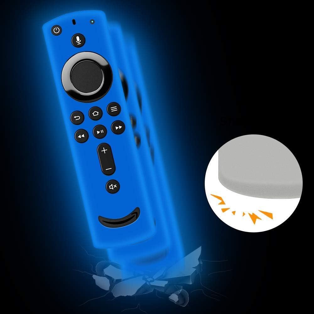 Turquesa Antideslizante Funda de Silicona para Fire TV Stick 4K Control Remoto Suave Carcasa de Protectora Silicona a Prueba de Golpes para Mando de Fire TV Stick con Alexa Voice Remote
