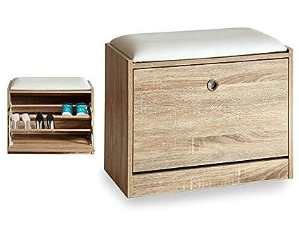Takestop® Zapatero de entrada con asiento acolchada Puf cojín madera blanco 30 x 60 x