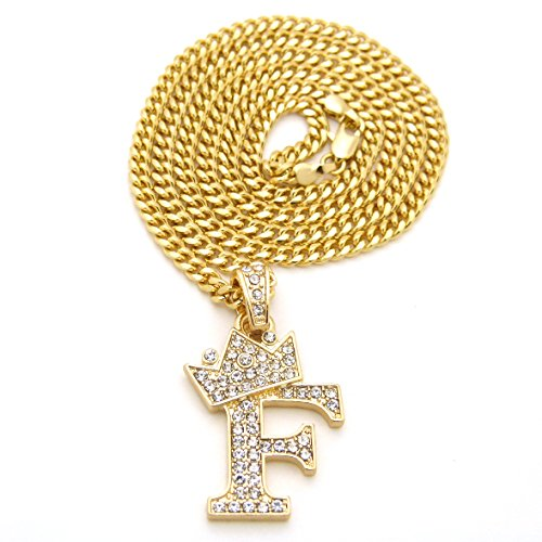 Unisex Small Size Pave Crown Tilted Initial Alphabet Letter Pendant 3mm 24
