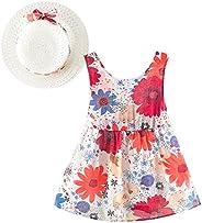 Newborn Toddler Kids Baby Girl Skirt Sleeveless Print Princess Dress+Hat Casual Clothes Set
