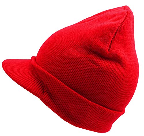 er Visor Beanie Hats Warm Knit Outdoor Red ()