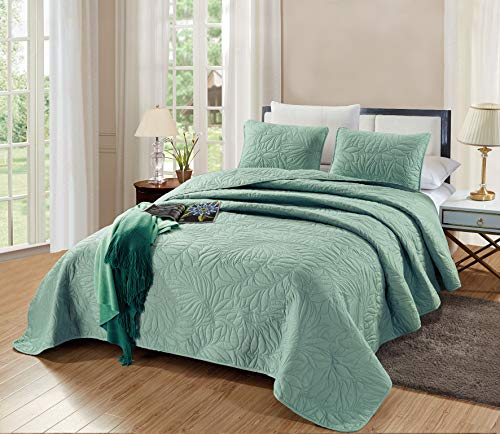 GrandLinen 2-Piece Bedding Savannah Quilt Set Solid SEA Foam Green Twin/Twin XL Size 60