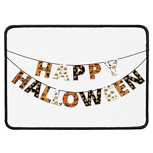 Halloween Natural Rubber Pad,Happy Halloween Banner Greetings Pumpkins Skull Cross Bones Bats Pennant Decorative for Office &Hone Computers,9.84''Wx11.81''Lx0.12''H -