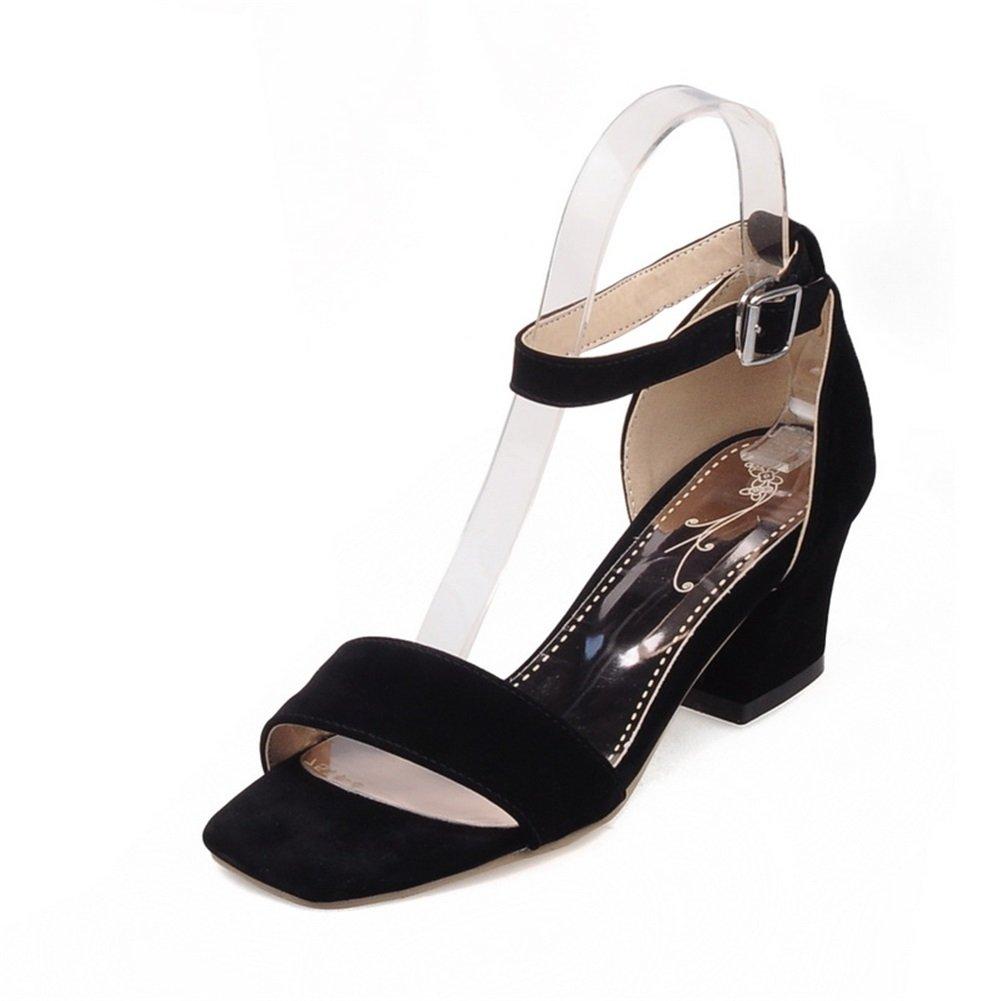 SHINIK 2018 nuevos zapatos de mujer Suede Ladies zapatos de tacón alto de punta abierta versión coreana para el banquete de boda y la noche (Color : Black, tamaño : 36) 36|Black