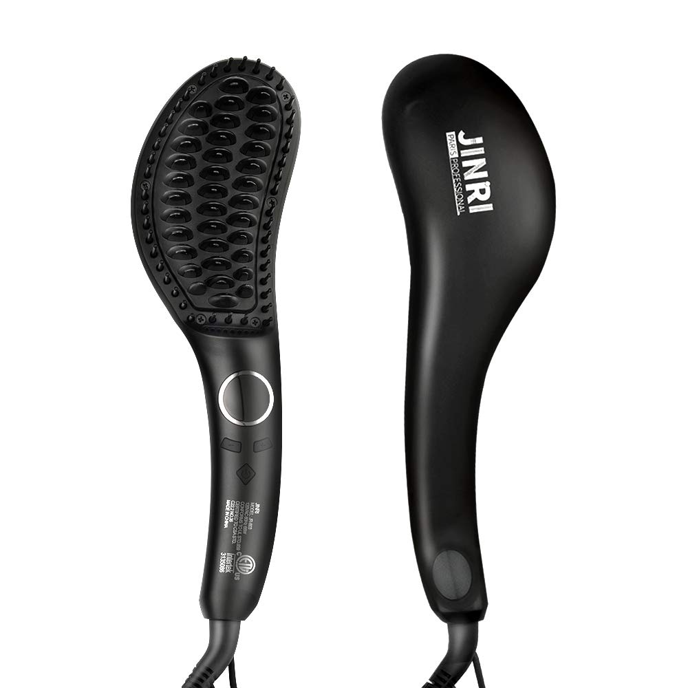Jinri Ionic Hair Straightener Brush with Double Anion Anti-scald, Ceramic Hair Straightening Brush with Fast Heating, Electric Auto Shut Off, Temperature Lock, Perfect for Travel