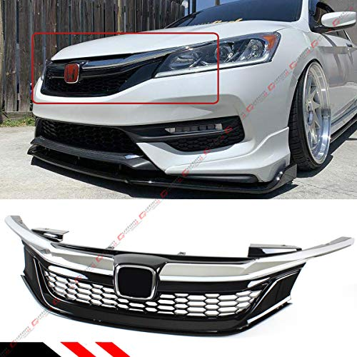 - Chrome Black JDM Sport Mesh Front Grille Grill Fits for 2016-2017 9th Gen Honda Accord Sedan
