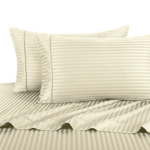 Pillowcase Damask (Luxury Ultra Soft 100% Egyptian Cotton 300 Thread Count Sateen Stripe Damask Pillowcase Sets, , Pair of Two Pillowcases, King Size 2 Piece Pillowcase Set, Stripe, Ivory)