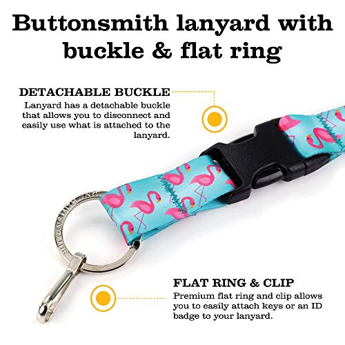 Buttonsmith Flamingos Premium Breakaway Lanyard - Safety Breakaway, Buckle and Flat Ring - Made in USA by Buttonsmith (Image #5)