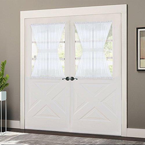 NICETOWN Door Sheer Window Panels, Front Door Curtains wih Tieback, Small Door Windowb Curtain Sheer, 40