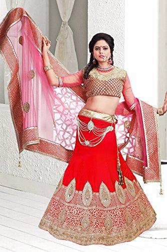 PCC Womens Velvet Fabric Red Pretty Unstitched Lehenga Choli 79524