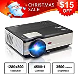 """HD Movie Projector 1080p Outdoor Indoor 3500 Lumens, 200"""" Video Projector Full HD 1280x800, Home Theater Projector Dual HDMI USB for Laptop iPhone Smartphone Mac Game with Speaker 50,000hrs Led Lamp"""