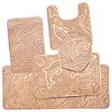 5 Piece Bathroom Rugs Set - Soft Non Slip Memory Foam Large Bathroom Mats - Beige