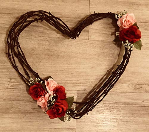 Barbwire Heart Wreath- Red and Pink Roses