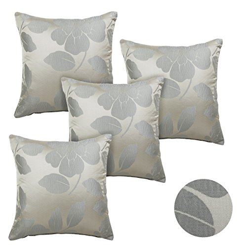 Alexandra Cole Faux Silk Floral Throw Pillow Cases Decorative Square Pillow Covers 18x18 Cushion Cover Cases for Sofa Zipper Closure Set of 4 Duck Egg