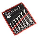 ATE Pro. USA 10943 Ratcheting Wrench, Flex Head, SAE, 3/8'' to 3/4'', 7 Piece Set