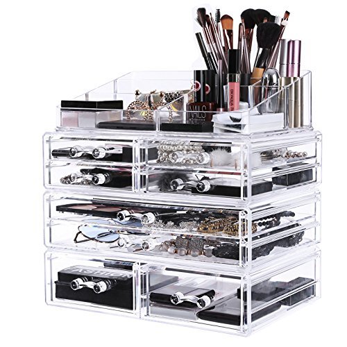 Eight Box Drawers (SONGMICS Extra Large Makeup Organizer with 8 Drawers Cosmetic Jewelry Storage Box with 9 Top Compartments for Brushes Lipsticks 4 Pieces Set Clear UJMU10T)