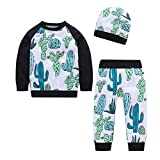 Newborn Autumn Winter Pajamas Sets,Jchen(TM) Infant Baby Boys Girls Cactus Print Long Sleeve Tops Pants Hat Homewear Sleepwear Outfits for 0-24 Months (Age: 12-18 Months)