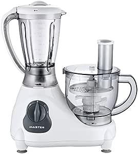 Master Digital Robot de cocina multifunción Master FP809, 500 W, 0.8 litros, Vidrio, 5 Velocidades, Plata, Color blanco: Amazon.es: Hogar