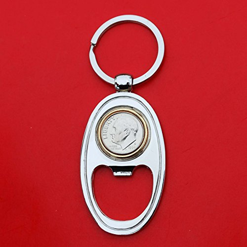 US 1994 Roosevelt Dime Gem BU Unc 10 Cent Coin Gold Silver Two Tone Key Chain Ring Bottle Opener NEW