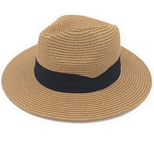 (Women Wide Brim Straw Panama Roll up Hat UPF50+ Fedora Beach Sun Hat (Brown, OneSize))