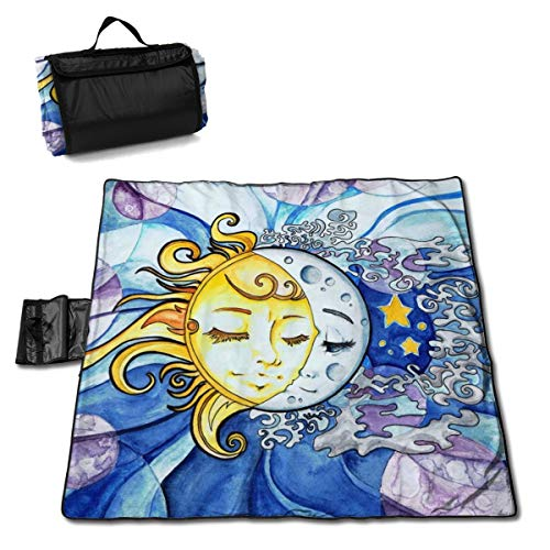 Sun and Moon by Daydreamer Large Picnic Blanket Water Resistant Beach Blanket Machine Washable Outdoor Blanket Folds Into A Tote Bag