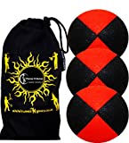 3x Pro Thud Juggling Balls - Deluxe (SUEDE) Professional Juggling Ball Set of 3 with ''Kid-Jo Learn To Juggle'' DVD, and Fabric Travel Bag! (Black/Red)