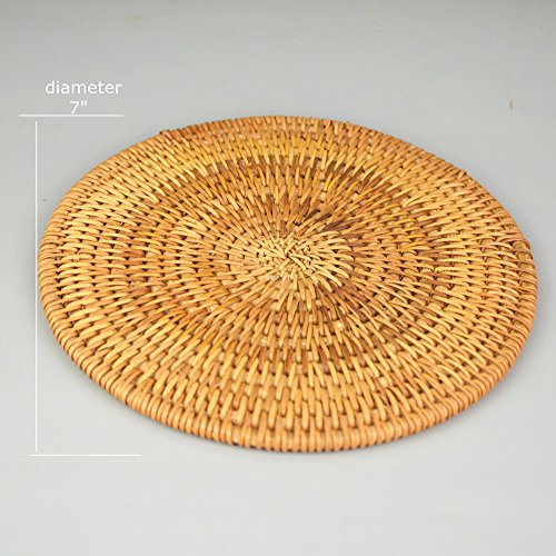 Rattan Handmade Drink Coaster Coffee Cupmat Tea Cup Mat Teapot Vine Placemat Rattan Decorative Holder for Kitchen Table Drinks Crafts Table Desk Office Hotel Coffee Shop (1, (Wicker Tea)