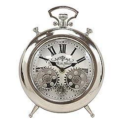 Ebros Antoine De Praiteau Steampunk Mechanical Moving Gears Old Fashioned European Vintage Style Table Clock Victorian Industrial Accent Fantasy Metal Clockwork Gearwork Clocks (Shiny Chrome)