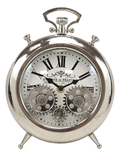 Ebros Antoine De Praiteau Steampunk Mechanical Moving Gears Old Fashioned European Vintage Style Table Clock Victorian Industrial Accent Fantasy Metal Clockwork Gearwork Clocks (Shiny Chrome)