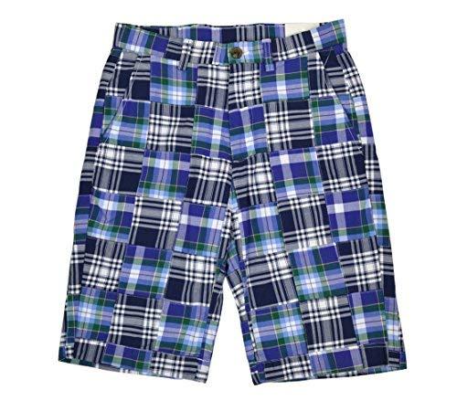 Brooks Brothers Mens 100% Cotton Madras Plaid Patchwork Shorts Blue Multi (29W)
