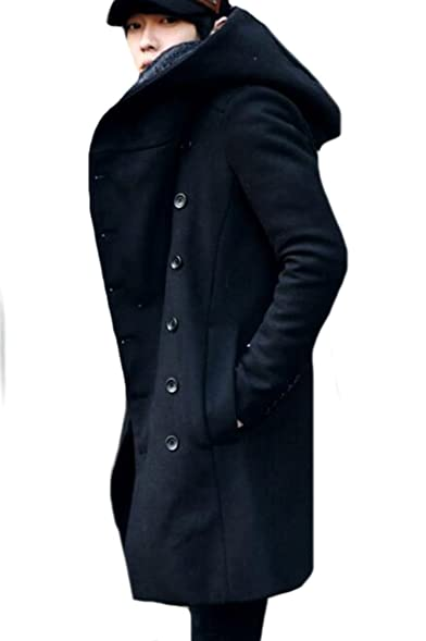 Vska Mens Casual Double Breasted Regular Fit Pea Coat With Hood at ...