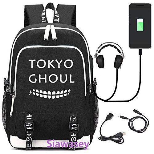 Price comparison product image Siawasey Japanese Anime Cosplay Luminous Backpack Daypack Bookbag Laptop School Bag with USB Charging Port