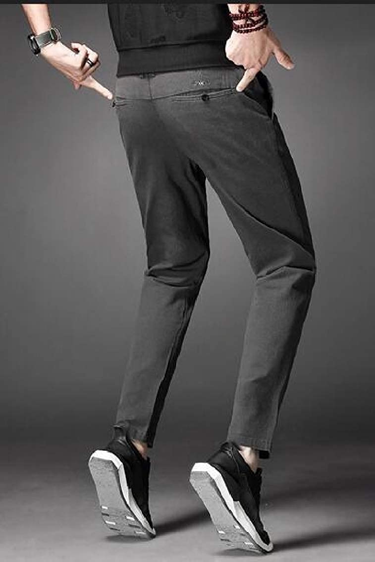 Sweatwater Men All-Match Solid Trousers Casual Slim Fit Straight Leg Pants