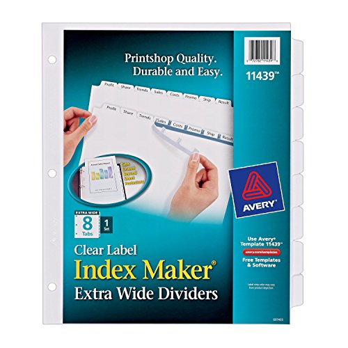 Galleon avery index maker clear label dividers 8 tab for Avery template 11447