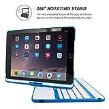 Snugg iPad Air 2 Keyboard, [Blue] Wireless Bluetooth Keyboard Case Cover 360° Degree Rotatable Keyboard for Apple iPad Air 2