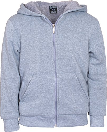 (Quad Seven Boys Full Zip Hoodie with Sherpa Lining, Grey, Size 8/10')