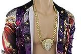 TFJ Men Fashion Jewelry Necklace Metal Chain Links Long Strand Medusa Head Hip Hop Gold Color