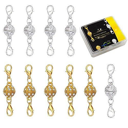 Aiskaer 10 Pcs Gold Color and Silver Color Rhinestone Ball Style Magnetic Lobster Clasps for Jewelry Necklace Bracelet