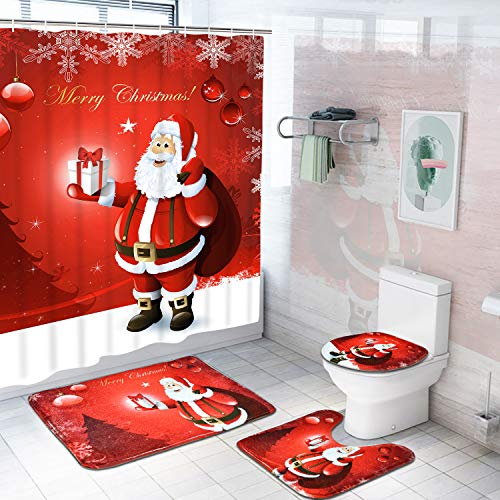 Alishomtll 4 Pcs Merry Christmas Shower Curtain Sets with Non-Slip Rugs, Toilet Lid Cover, Bath Mat and 12 Hooks Santa Xmas Tree Ball Snowflake Shower Curtain for Christmas Decoration (Santa Bathroom Accessories)