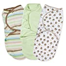 Summer Infant 3 Pack Cotton Knit Swaddleme, 7-14 Lb, Small/Medium, Busy Monkey