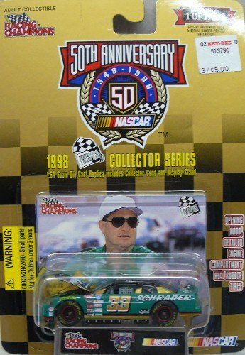 1998 Collector Series - Racing Champions - NASCAR - Ken Schrader - No. 33 Chevrolet Monte Carlo - 1:64 Scale Replica Stock Car, Collector Card and Display Stand