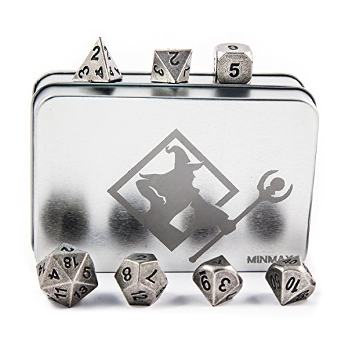 20 Case Basic - MINMAX Solid Metal Polyhedral 7 Die Board Game Dice Set with Case — Ancient Silver | for D&D, Pathfinder, Shadowrun, and Other Tabletop RPGs