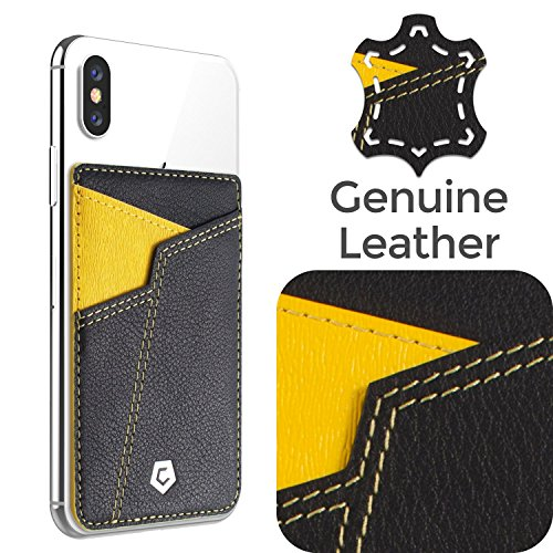 (Cobble Pro Self Adhesive Genuine Leather Stick On Credit Card Phone Holder Wallet Case, Sports Teams Fans Lover Sleeve Pocket Compatible with iPhone Xs Max/XS/XR/X/8/8 Plus & Smartphone, Black Yellow)