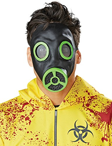 [UHC Men's Latex Chemical Biohazard Gas Halloween Costume Face Mask, Full] (Cool Gas Mask Costumes)