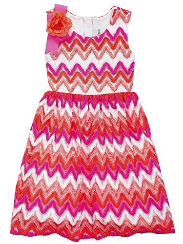 Rare Editions Girls Summer Crocheted Chevron Dress (5-6x) (6x) (Girls Crocheted Dress)
