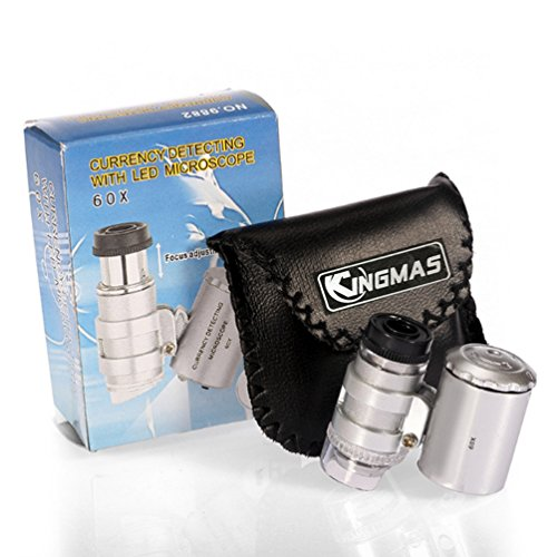 KINGMAS Mini 60x Microscope Magnifying with LED UV Light Pocket Jewelry Magnifier Jeweler Loupe